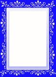 蓝色花设计员框架边界 库存图片