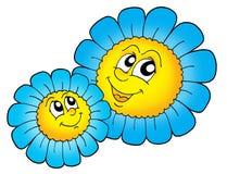 蓝色花配对微笑 免版税图库摄影