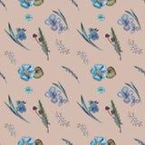 蓝色花,草本的样式 库存例证