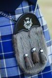 蓝色苏格兰男用短裙毛皮袋格子呢 免版税库存图片
