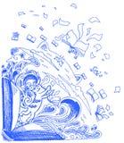 蓝色草图乱画: 猫和书 免版税库存照片