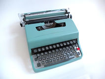 蓝色葡萄酒指南打字机 免版税库存照片
