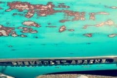 蓝色葡萄酒汽车特写镜头 库存图片
