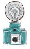 蓝色葡萄酒照相机paintage线艺术 免版税图库摄影