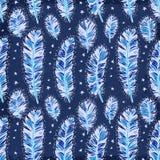 蓝色葡萄酒羽毛印地安无缝的样式 免版税库存照片