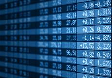 蓝色董事会电子市场股票 免版税库存图片