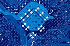 蓝色董事会电路关闭计算机 免版税库存图片