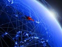 蓝色蓝色数字地球的多米尼加共和国 皇族释放例证