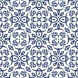 蓝色蔓藤花纹样式 向量例证