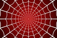蓝色虚拟蜘蛛色彩万维网 在红色背景的蜘蛛网 也corel凹道例证向量 向量例证