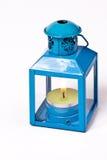 蓝色蜡烛灯笼 免版税库存图片
