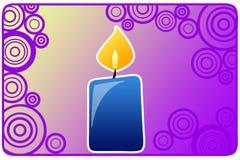 蓝色蜡烛看板卡 免版税图库摄影