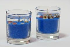 蓝色蜡烛胶凝体 免版税库存照片