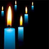 蓝色蜡烛 免版税库存图片