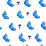 蓝色蝴蝶和花的样式 库存例证
