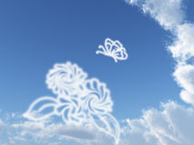 蓝色蝴蝶天空白色 库存照片