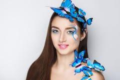 蓝色蝴蝶组成 免版税库存照片