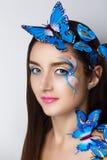 蓝色蝴蝶组成 免版税库存图片