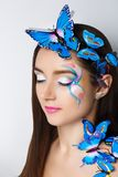蓝色蝴蝶组成 库存图片