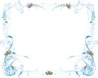蓝色蝶粉花框架 免版税库存照片