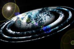 蓝色行星、轨道和太阳光芒背景,设计 库存图片