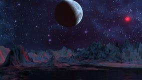 蓝色行星和红色飞碟 向量例证