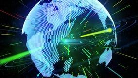 蓝色行星地球和连接 免版税库存图片