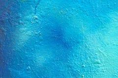蓝色街道画墙壁 免版税库存图片