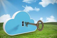 蓝色衣物柜的综合图象在云彩形状的与钥匙3d 库存图片