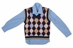 蓝色衬衣和方格的背心 库存照片