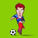 蓝色衬衣控制橄榄球动画片 库存图片