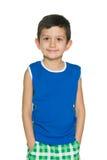 蓝色衬衣的时尚小男孩 库存图片