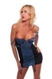 蓝色衬裙 免版税库存照片