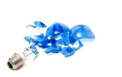 蓝色被中断的电灯泡 免版税图库摄影
