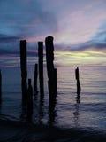 蓝色被中断的码头 库存照片