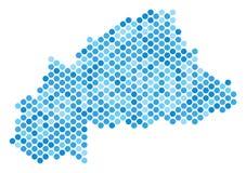 蓝色被加点的布基纳法索地图 库存照片