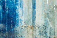 蓝色被弄脏的墙壁 库存照片