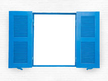 蓝色被打开的窗口 图库摄影