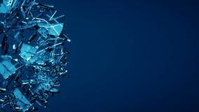 蓝色被打碎的透明玻璃爆炸 库存照片