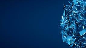 蓝色被打碎的透明玻璃爆炸 免版税图库摄影