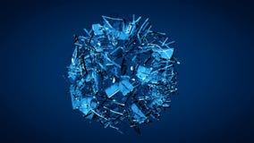 蓝色被打碎的透明玻璃爆炸 库存图片