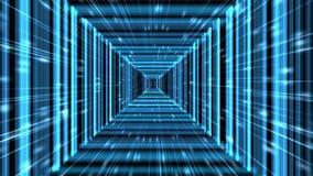 蓝色被摆正的Tron矩阵真正隧道背景动画 股票视频