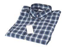 蓝色被检查的模式衬衣 免版税图库摄影