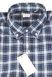 蓝色被检查的模式衬衣 库存照片