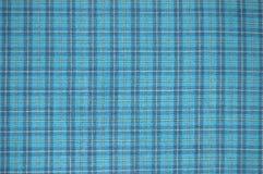 蓝色被检查的织品纹理 免版税库存照片