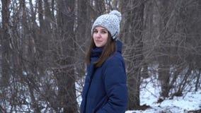 蓝色被编织的围巾的美女室外在冬天看照相机的森林相当女孩 股票录像