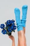 蓝色被编织的妇女的袜子 免版税库存图片