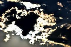 黑&蓝色被蚀的日落在威斯康辛,美国 图库摄影