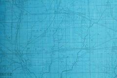 蓝色被设色的路线图 免版税库存照片