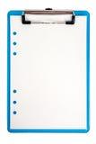 蓝色被隔绝的剪贴板和纸 库存照片